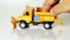Toy snowplow Stock Footage