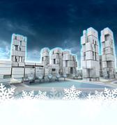 Futuristic skyscraper city at winter sunset snowflake frame illustration Stock Illustration