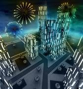 midnight fireworks scene over city from window illustration - stock illustration