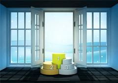 open doorway with champion podium and winter landscape scene behind - stock illustration