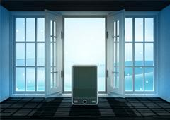 open doorway with new smart phone and winter landscape scene behind - stock illustration