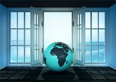 open doorway with africa world globe and winter landscape scene behind - stock illustration