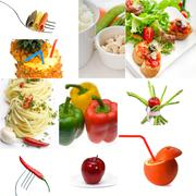 Organic vegetarian vegan food collage  bright mood Stock Photos