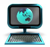 Stock Illustration of blue metallic computer with asia globe on screen isolated illustration