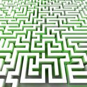 green ecology right pathway inside labyrinth illustration - stock illustration
