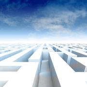 Amazing maze walls with blue cloudy sky illustration Stock Illustration