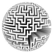 isolated grey labyrinth sphere structure illustration - stock illustration