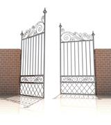 Iron gate in strong brick wall on white background illustration Stock Illustration