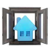 Isolated opened window to your new house property illustration Stock Illustration