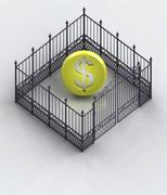 Dollar coin in closed baroque fence concept illustration Stock Illustration