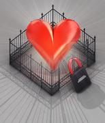 Red heart fence with padlock locked concept illustration Stock Illustration