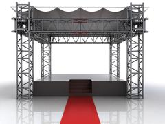 festival open air stage with red carpet for celebrities illustration - stock illustration