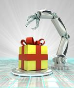 Stock Illustration of cybernetic robotic hand celebration with gift surprise render illustration