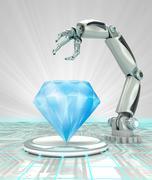 cybernetic robotic hand creation of artificial diamond render illustration - stock illustration