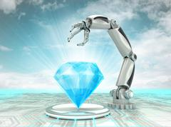 Cybernetic robotic hand creation of artificial diamond with cloudy sky Stock Illustration