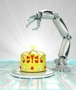 cybernetic royal robotic hand automatic technologies render illustration - stock illustration