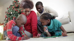 Kids writing a letter to Santa Claus Stock Footage