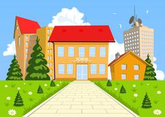 Vector cartoon modern school building Stock Illustration