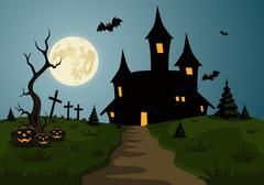 scary halloween background scene with castle and full moon - stock illustration