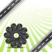 Car tires arranged in a circle Stock Illustration