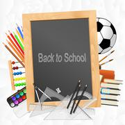 Stock Illustration of school supplies with blackboard on crumpled paper background