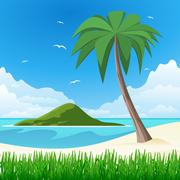 island with palm tree on tropical white sand - stock illustration