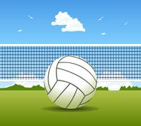vector illustration of volleyball ball and net - stock illustration