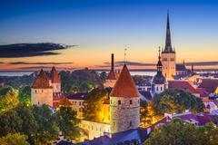 tallinn estonia old city - stock photo