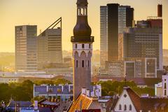 tallinn estonia cityscape - stock photo