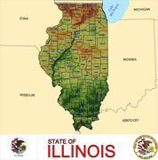 Illinois counties emblem motto - stock illustration