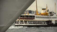 Public ferry departing from a quay at Istanbul Stock Footage