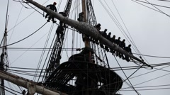 Tall ship crew in the rigging Stock Footage