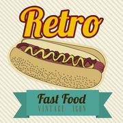 illustration of fast food vintage, retro poster, vector illustration - stock illustration