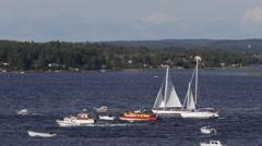 Fleet of leisure boats Stock Footage