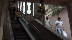 Hong Kong Central-Mid Levels Escalator-longest outdoor escalator in the worl-Dan Stock Footage