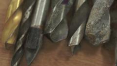 Closeup of Old Drill Bits Macro Dolly Stock Footage