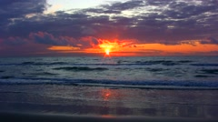 Sunset into the North Sea - stock footage