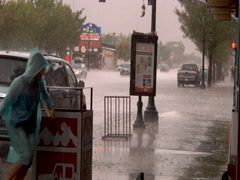 Torrential Downpour in Moab, Utah Stock Footage
