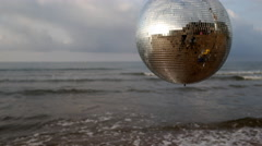 4k discoball ocean sea party music disco event mirrorball Stock Footage