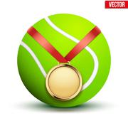 Sport gold medal with ribbon for winning tennis hangs on the ball. - stock illustration