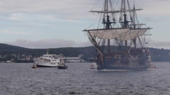 Tall ship firing salute cannons Stock Footage