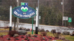 Morin Heights sign in Quebec, Canada Stock Footage