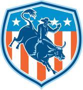Rodeo cowboy bull riding flag shield retro Piirros