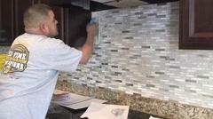 Tile setter, kitchen remodel 21 Stock Footage
