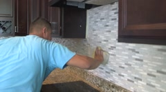 Tile setter, kitchen remodel 22 Stock Footage
