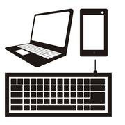illustration of computer icons, iconography computer and keyboard, vector - stock illustration
