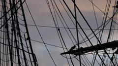 Tall ship - pan over the rigging Stock Footage