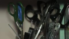 Set of shears, the play of light Stock Footage