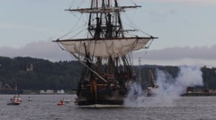 Tall ship firing salute - stock footage