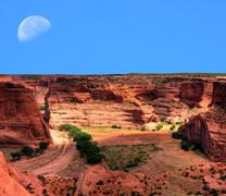 Stock Photo of canyon de chelly moonrise